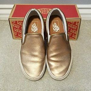 Leather Vans Slip Ons